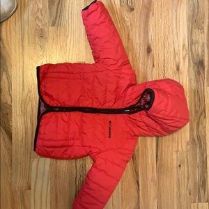 Columbia unisex Red reversible warm jacket 12M-18M
